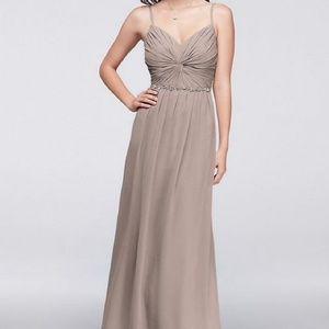 David's Bridal floorlength gown biscotti size 8